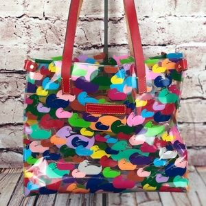 Dooney & Bourke clear tote colorful READ